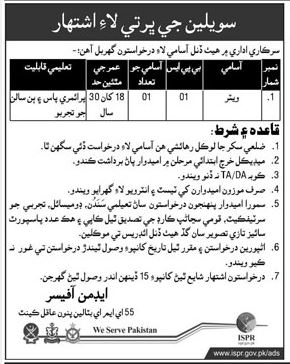 Government Department Wanted Waiter In Pano Aqil Cantt