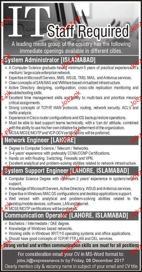 Systems Administrators, Network Engineers  Wanted