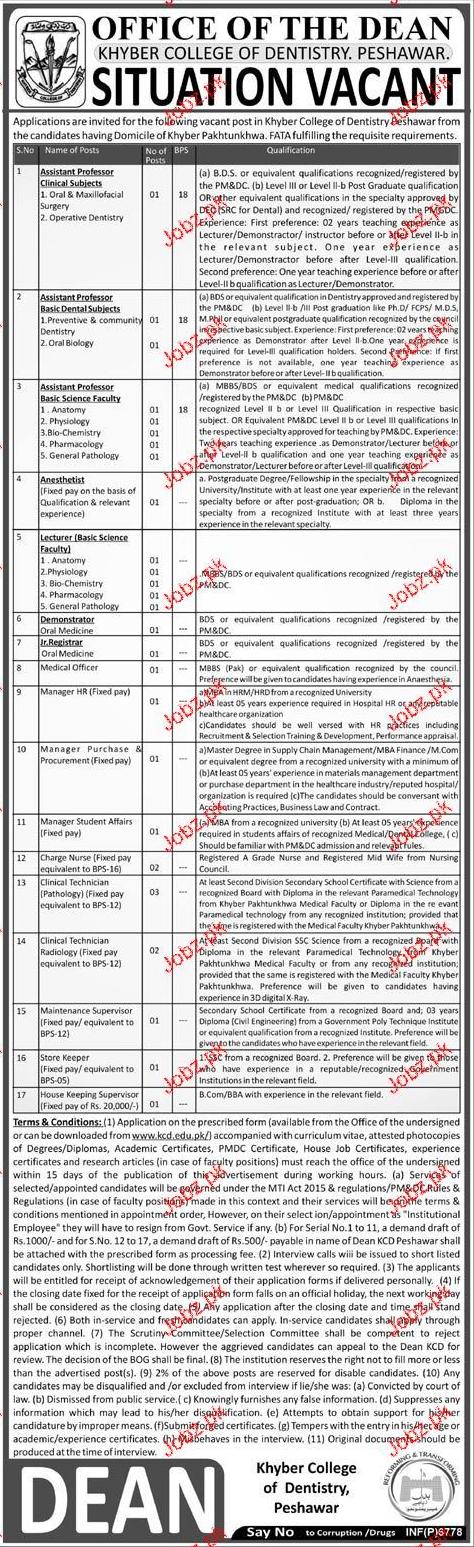Khyber College Dentistry Peshawar Jobs