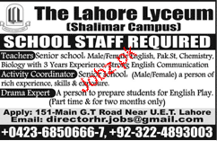The Lahore Lyceum Shalimar Campus Jobs