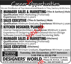 Manager Sales & Marketing, sales Executives Job Opportunity