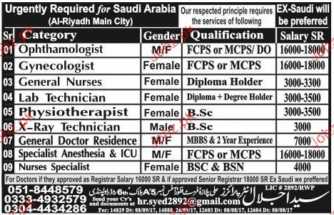 Gynecologists, General Technicians Job Opportunity