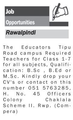 Teacher Staff Jobs at Rawalpindi