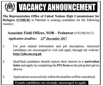 United Nations High Commissioner for Refugees Jobs 2017