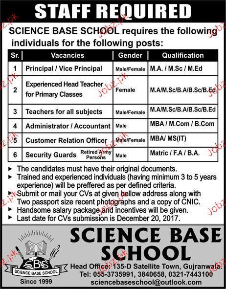 Science Base School Jobs