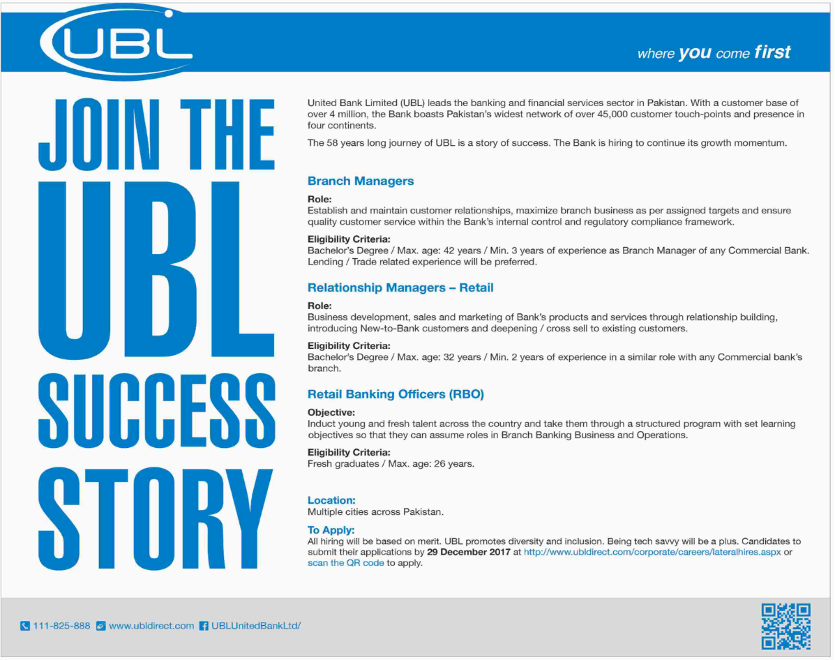 UBL required Branch Manager & Relationship Managers