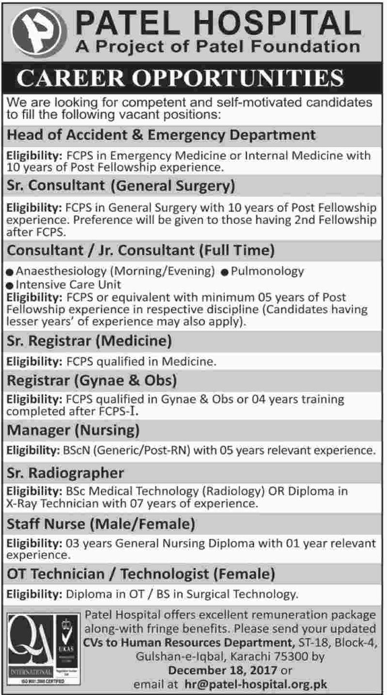 Consultant, Registrar, Technicians & Staff Nurses Jobs
