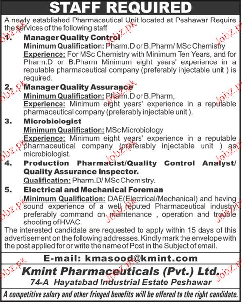 Kmint Pharmaceuticals Private Limited  Jobs