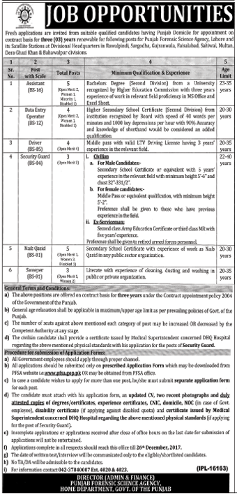PFSA Lahore required Assistant & Data Entry Operator