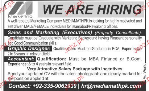 Sales & Marketing Executives Job Opportunity