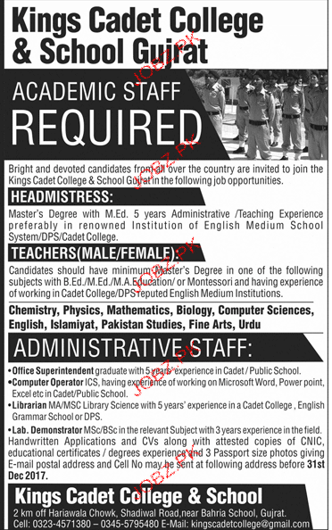 Kings Cadet College  and School Gujrat Jobs