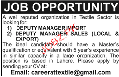 Deputy Manager Import, Deputy Manager Sales Job Opportunity