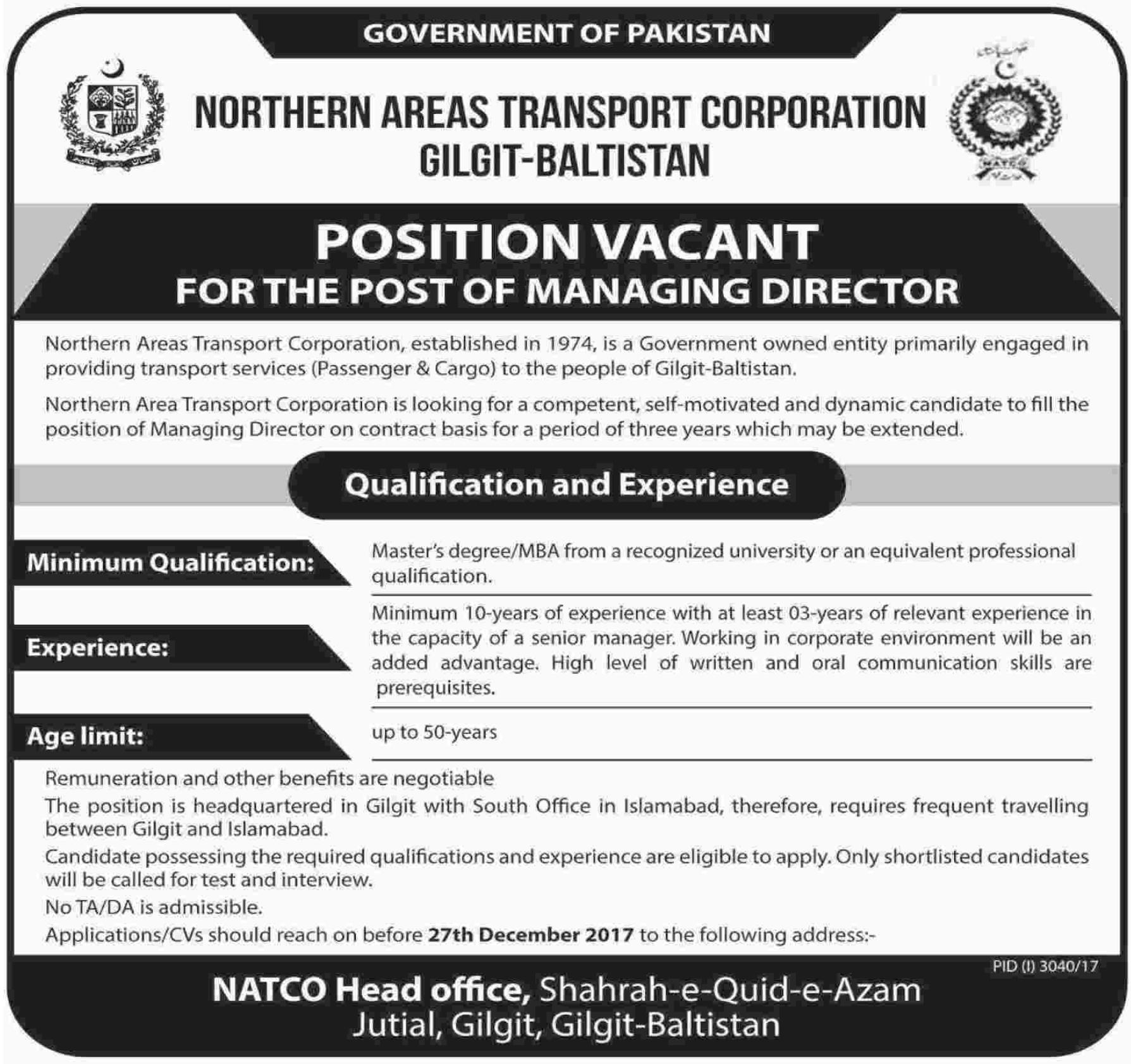 NATCO Gilgit Baltistan wanted Managing Director
