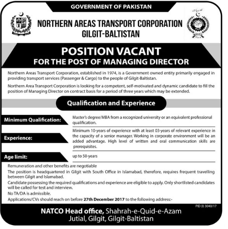 Northern Area Transport Corporation NATCO Jobs 2017