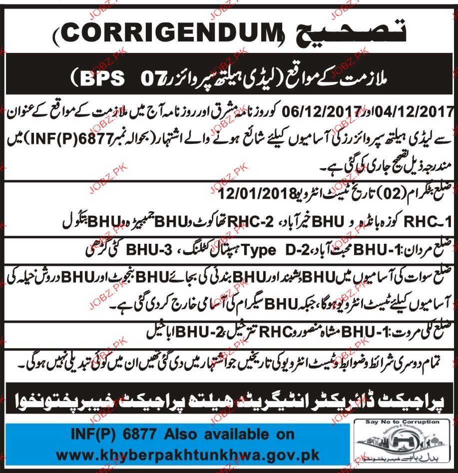 Lady Health Visitors Job Opportunity