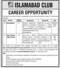 Islamabad Club wanted Horticulturist & Trainers