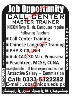 Call center Master Trainers Job Opportunity
