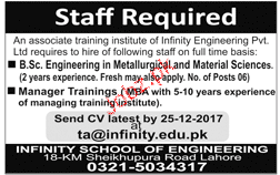 Engineers and Manager Training Job Opportunity