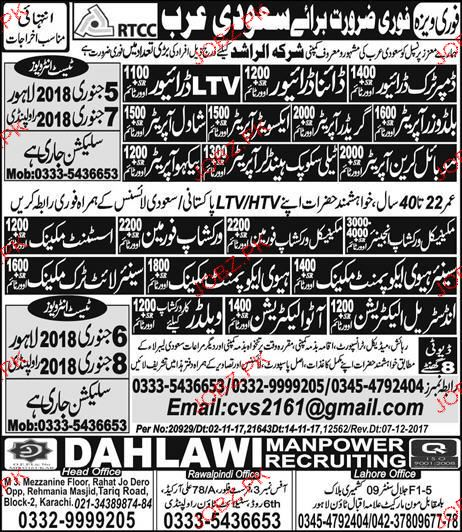 Dumper Truck Drivers, Dyna Drivers, shawal Operators Wanted