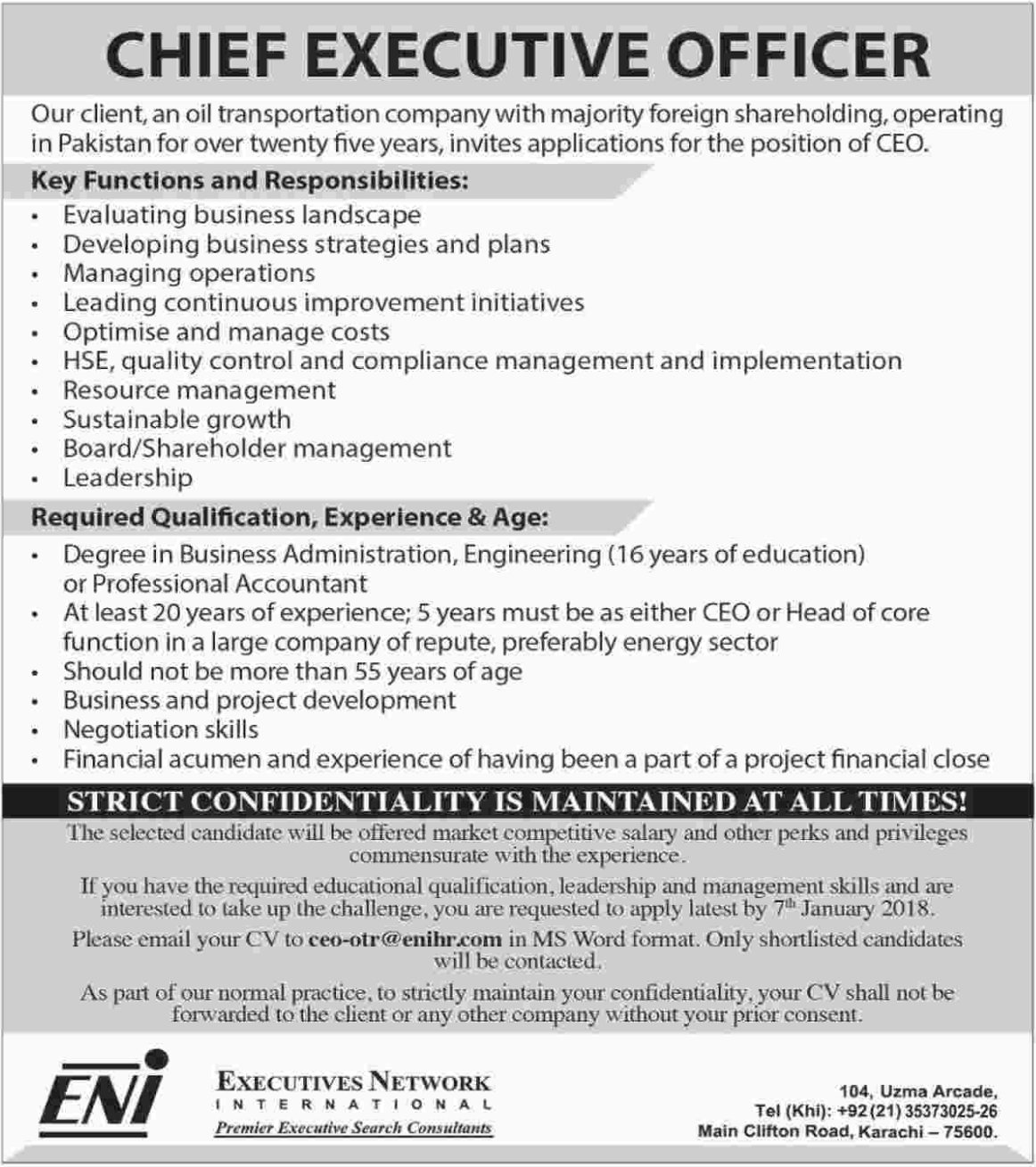 Chief Executive Officer Jobs in Oil Company