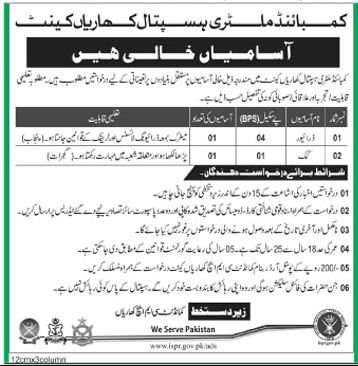CMH Wanted Driver & Cook In Kahrain Cantt