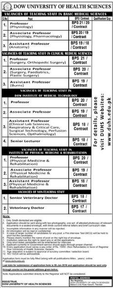 DUHS University Professor & Lecturer Jobs