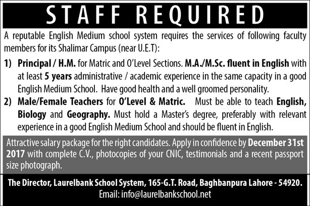 Principal & Teachers required in Lahore