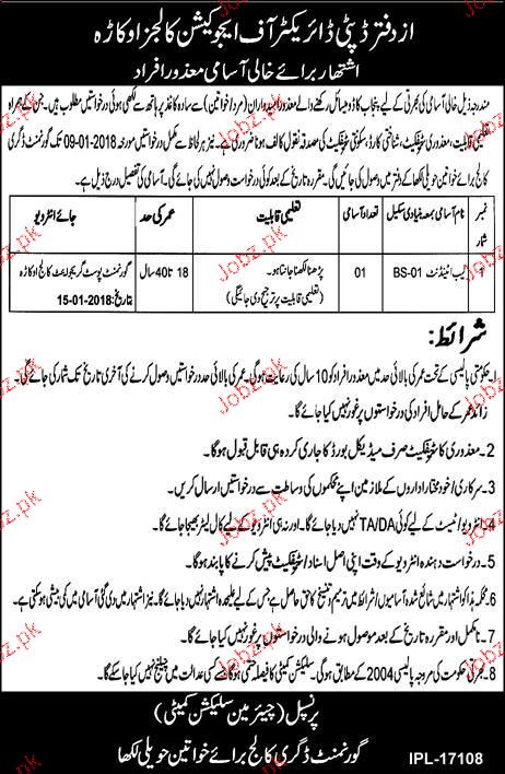 Government Degree College For Women GDCW Jobs