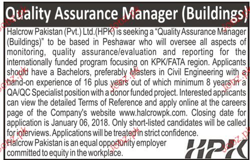 Quality Assurance Manager Building Job Opportunity