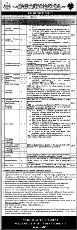 Wazirabad Institute of Cardiology WIC Jobs 2018