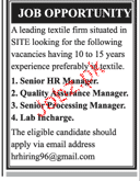 Senior HR Manager, Quality Assurance Manager Wanted
