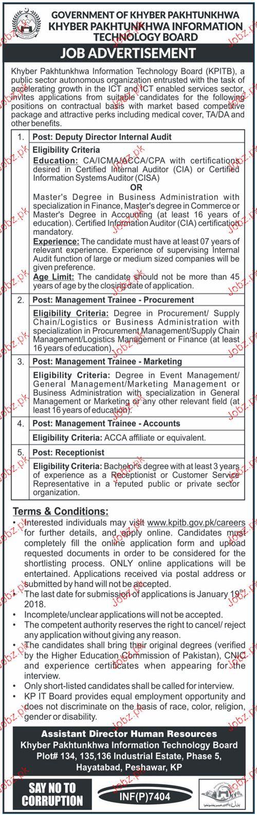 Khyber Pakhtunkhwa Information Technology Board KPITB Job