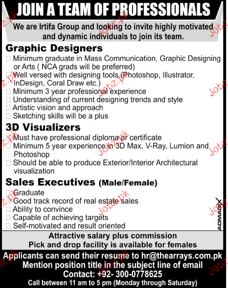 3D Visualizers, Graphic Designers Job Opportunity
