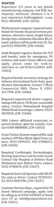Male & Female Staff wanted in Islamabad