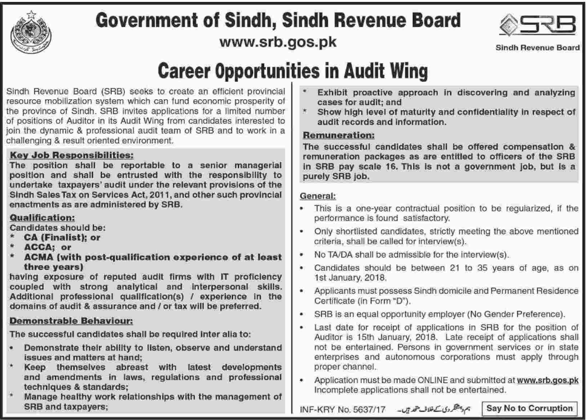Sindh Revenue Board SRB required Auditor 2018