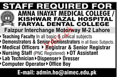 Amna Inayat Medical College Jobs