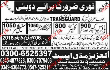 House Keepers, Cleaners and Steel Fixers Job Opportunity