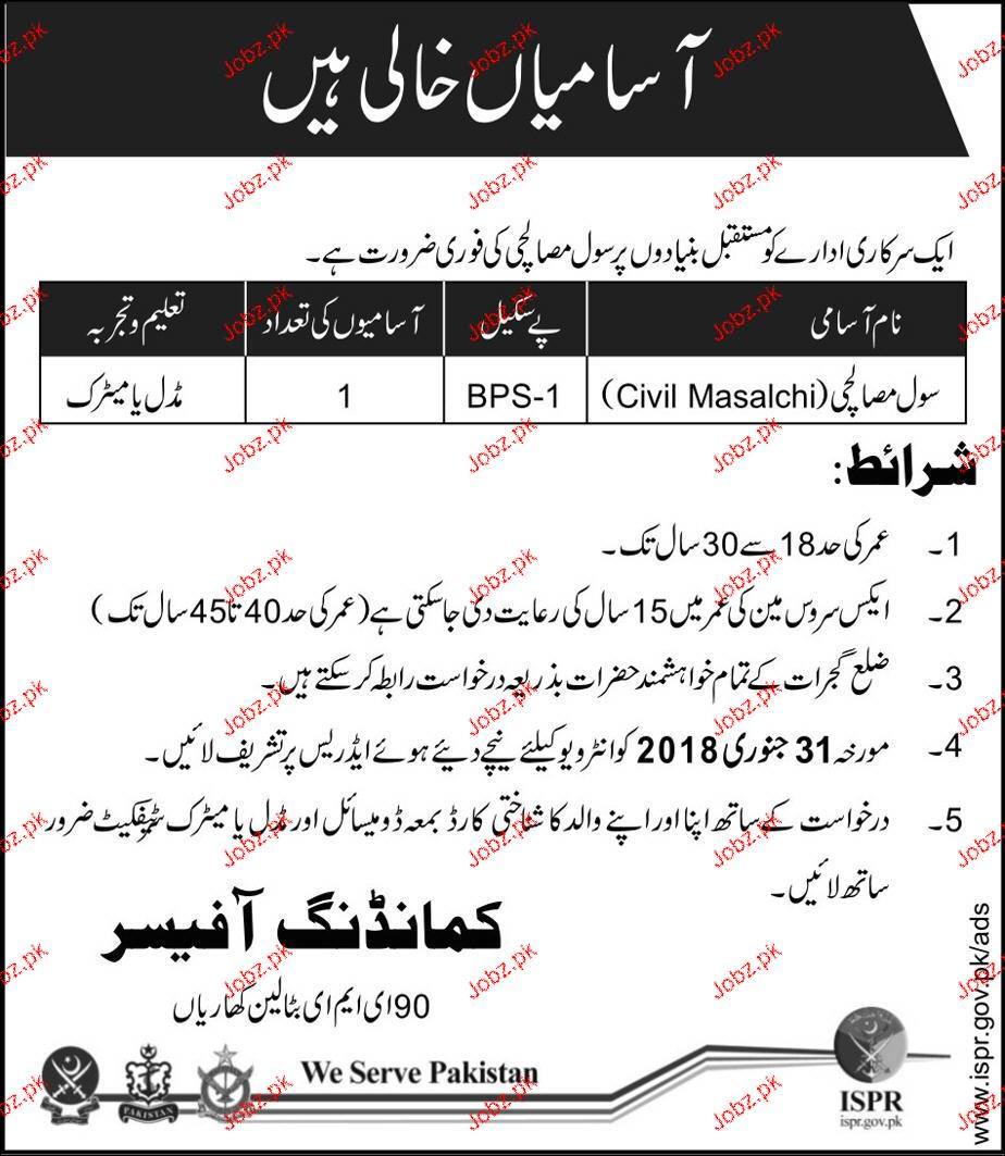 Civil Masalchi Job in  Pakistan Army