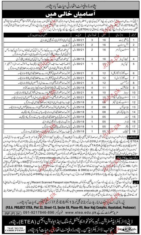 Peshawar Development Authority PDA Jobs Open