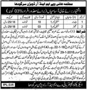 Highway M & R Division Sargodha Jobs 2018