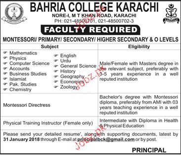 Bahria College Karachi Jobs