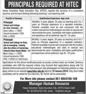 HITEC University Jobs 2018 for Principal