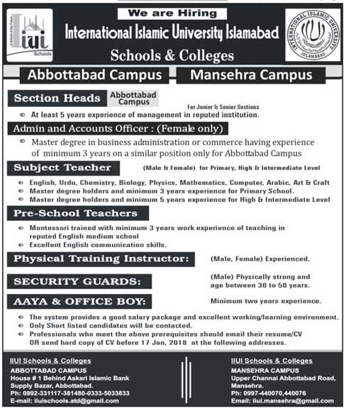 IIUI School & College Jobs 2018 for Section Head & Teacher