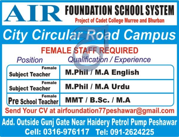 Female Teacher Jobs in Air Foundation School System