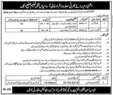 Junior Clerk Jobs in District Education Authority