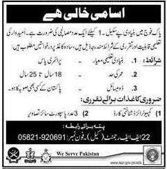 Pakistan Army Civilian Staff Jobs 218
