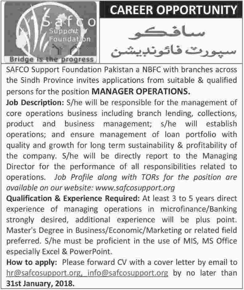 SAFCO Support Foundation Jobs 2018 for Manager Operations