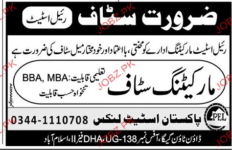 Pakistan Estate Links Marketing Staff Job