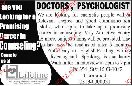 Doctors and Psychologists Job Opportunity