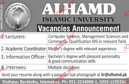 Lecturers, Academic Coordinators, Internees Job Opportunity